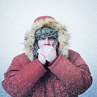 Freezing man
